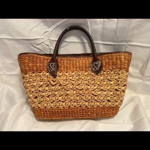 Brighton raffia straw, leather trim large tote bag